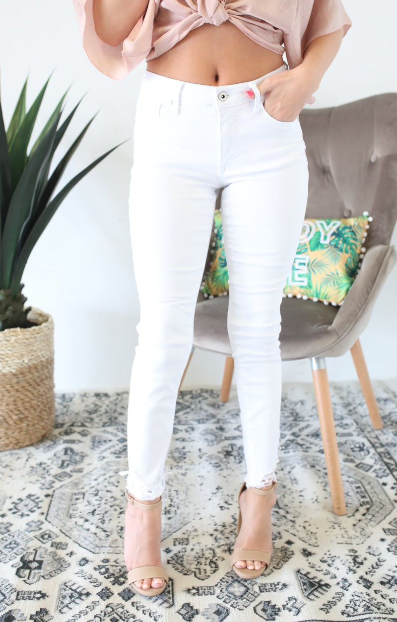 Long Fray w/ Uneven Bottom Hem Ankle Skinny - ShopSpoiled