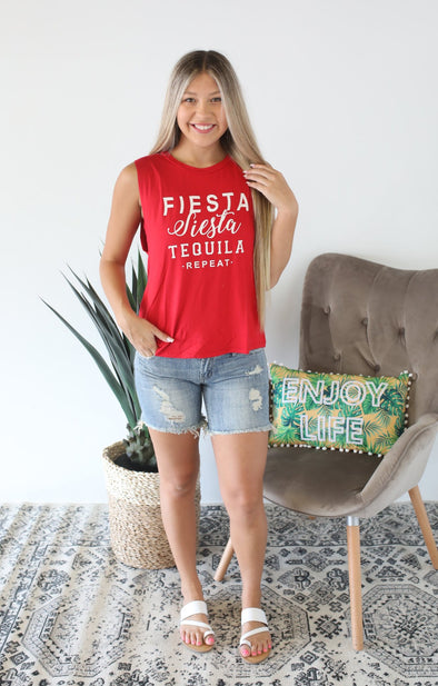 Fiesta Siesta Tank: Red - ShopSpoiled
