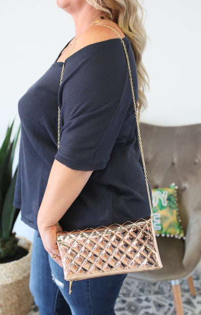 Glossy Quilted Clutch - ShopSpoiled