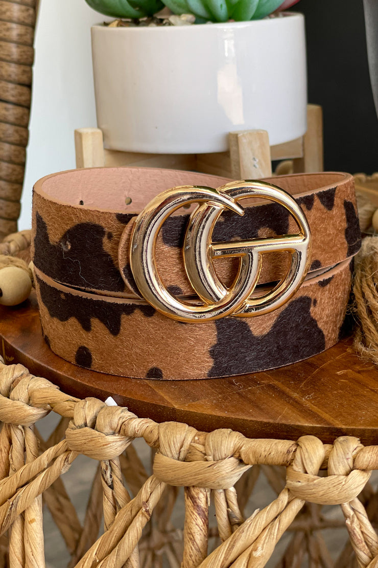 Small GG Cow Print Belt - ShopSpoiled
