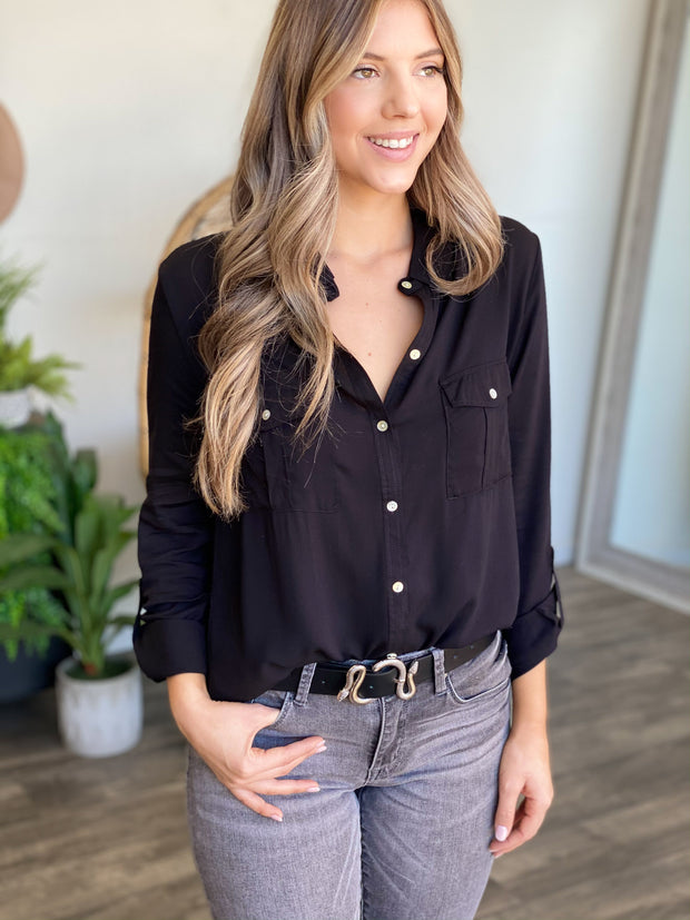 Style Win Button Down Top