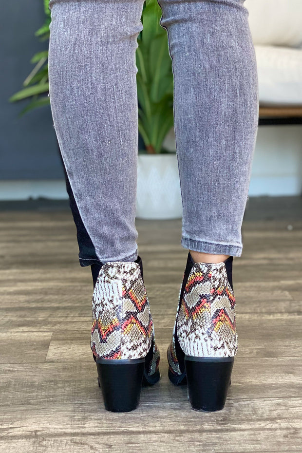 Brea Booties: Multi Snake Print - ShopSpoiled
