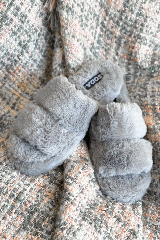 Goodnight Kiss Slippers: Grey - Shop Spoiled Boutique