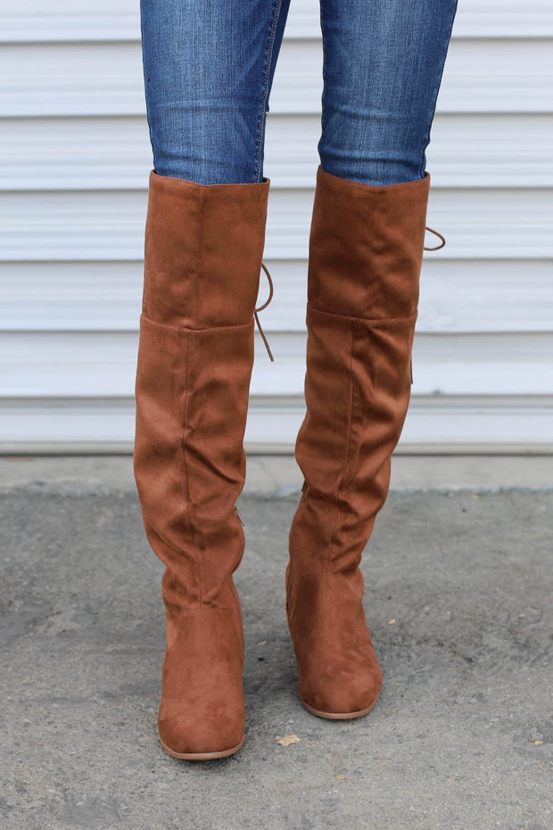 Barbra Lace Up Boots: Chestnut Suede - ShopSpoiled