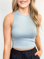 Basic Kylie Racerback Crop Tank - ShopSpoiled
