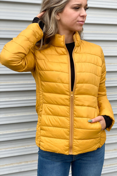 Puffer Jacket: Mustard - ShopSpoiled