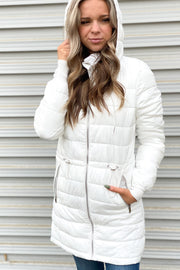 Longline Puffer Jacket: White - ShopSpoiled