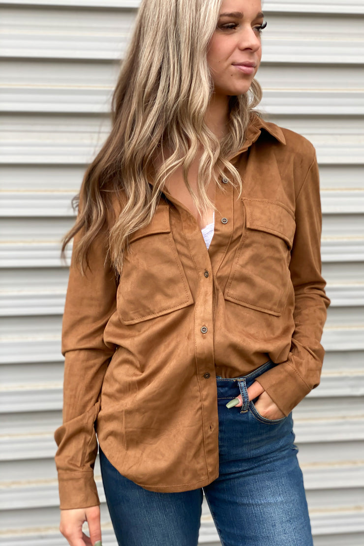 Madison Suede Top: Camel - ShopSpoiled