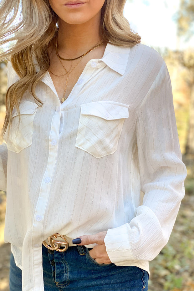 Glitter is Gold Stripe top: White - ShopSpoiled
