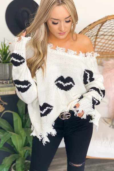 Kiss This Sweater: Black - ShopSpoiled