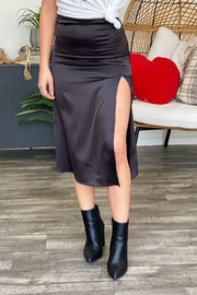 Statement Maker Midi Skirt: Black - ShopSpoiled