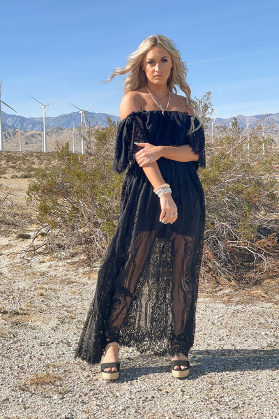 Mila Lace Maxi Dress: Black - ShopSpoiled