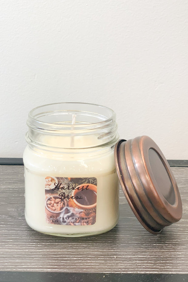 Harvest Brew  Mason Jar Candle: 8 OZ - ShopSpoiled