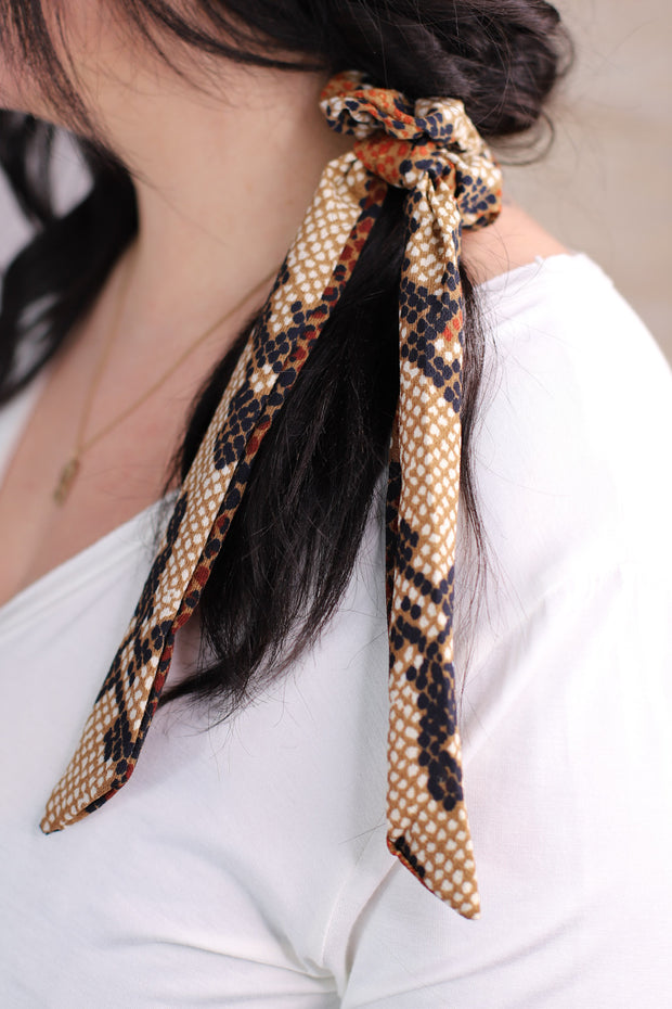 Slither And Sass Hair Scarf: Brown - ShopSpoiled