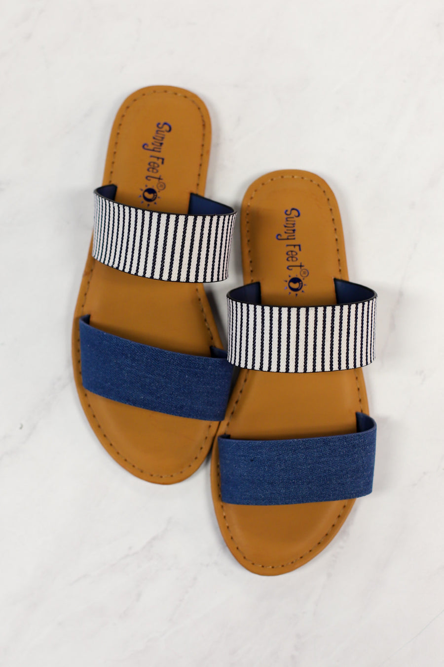 Ava Sandals: Denim - ShopSpoiled