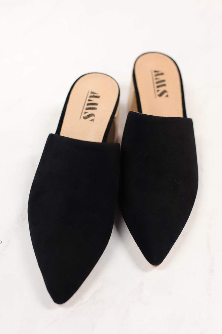 Olivia Mule Heels: Black - ShopSpoiled