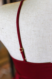 Strapped Front Cami: Burgundy - ShopSpoiled