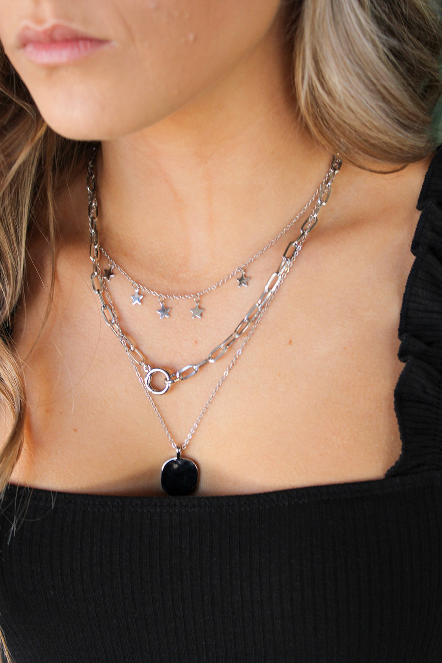 Star Is Born Layered Necklace: Silver - ShopSpoiled