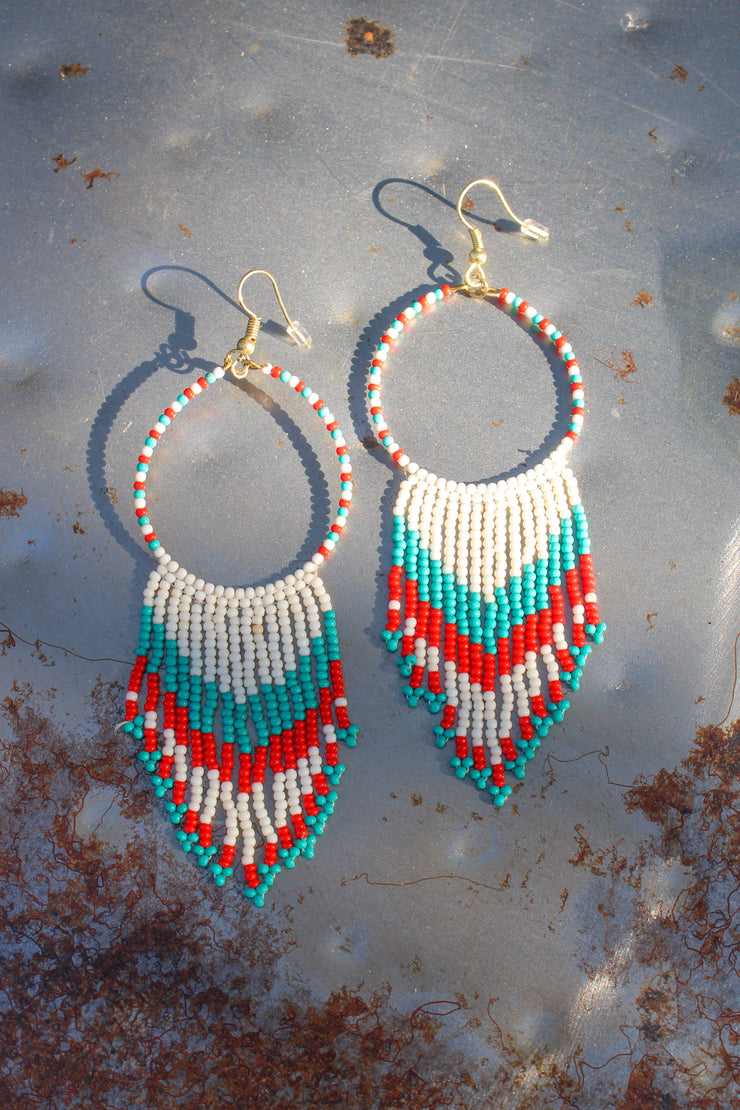 Dream Weaver Earrings: Red/Teal - ShopSpoiled
