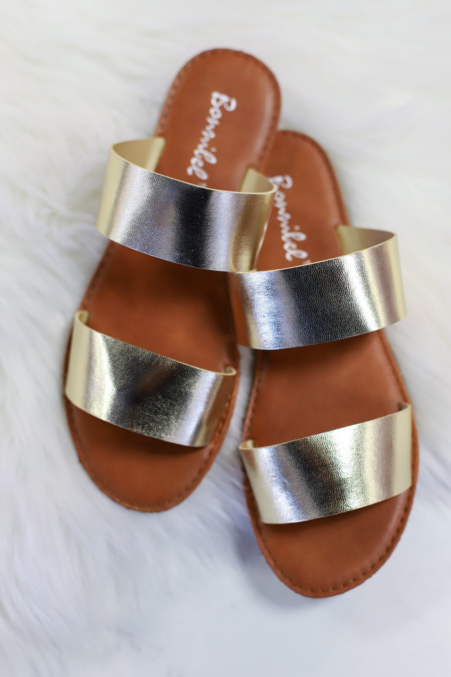 Dotty Love Sandals: Gold - ShopSpoiled