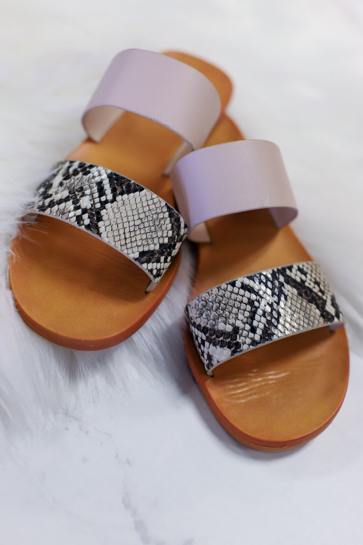 Moondance Sandals: Beige Snake - ShopSpoiled