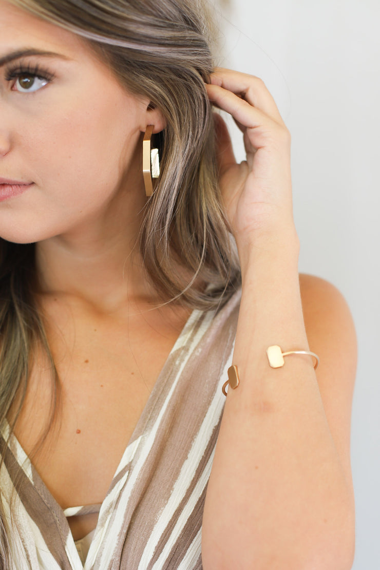 Andy Geometric Hoop Earrings: Gold - ShopSpoiled