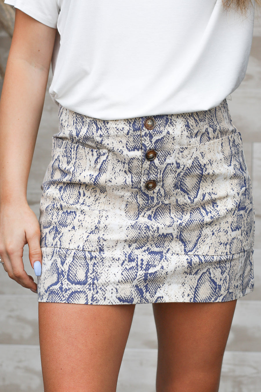 Take My Word For It Snake Skirt: Taupe/Navy - ShopSpoiled