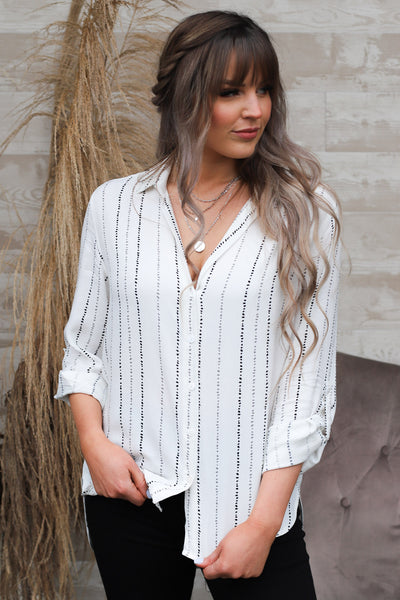 Blue Moon Button Down Top: Ivory - ShopSpoiled