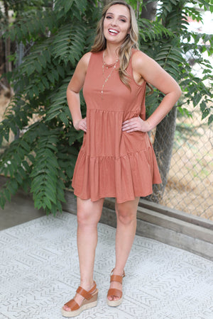 Upper East Side Dress: Rust - ShopSpoiled