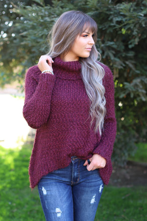 Chelsea Sweater: Wine - ShopSpoiled