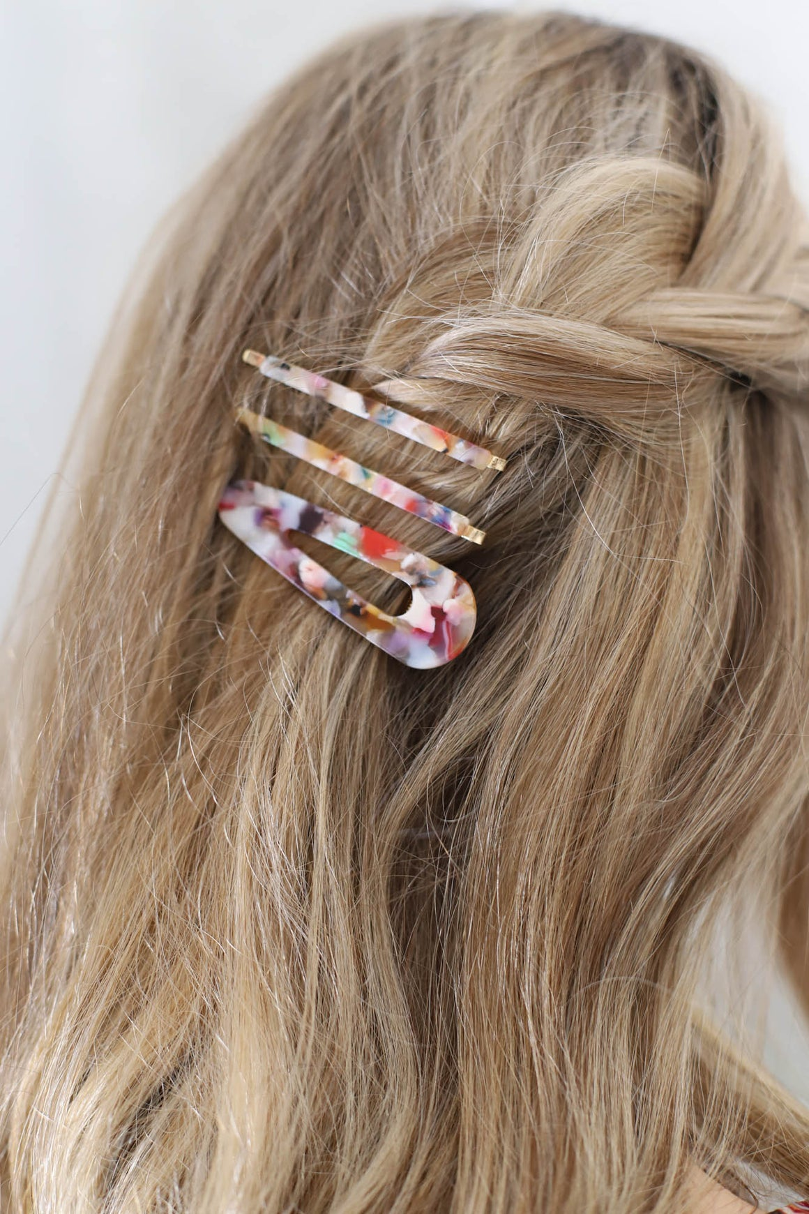 Acrylic 3pc Hair Pin Set: Multi Tone - ShopSpoiled