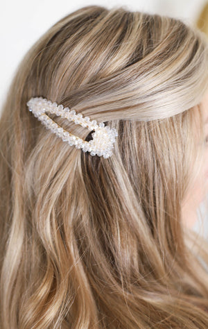 Large Beaded Hair Barrette: Clear - ShopSpoiled