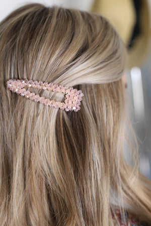 Large Beaded Hair Barrette: Pink - ShopSpoiled