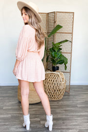 Too Much Time Dress: Peach - ShopSpoiled