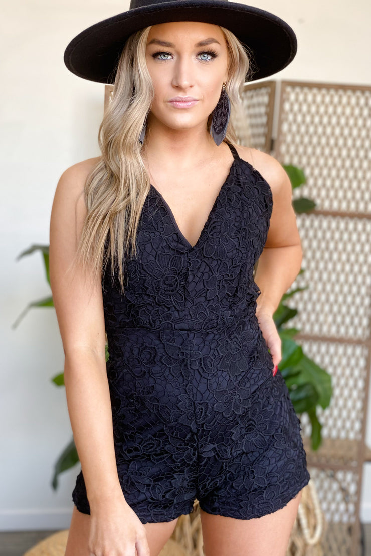 Laced with Love Romper: Black - ShopSpoiled