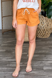 Beach Day Linen Shorts: Orange - ShopSpoiled
