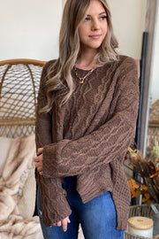 Lodge Vibes Sweater: Mocha - ShopSpoiled