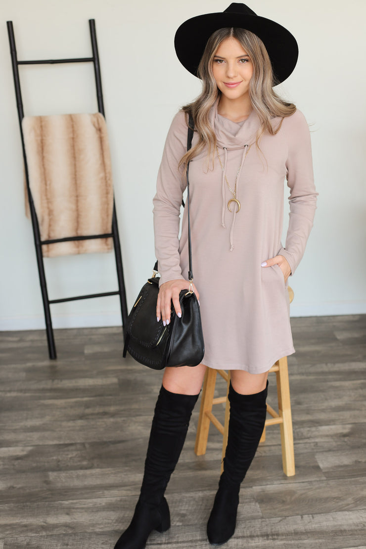 Unwind Sweater Dress: Taupe - ShopSpoiled