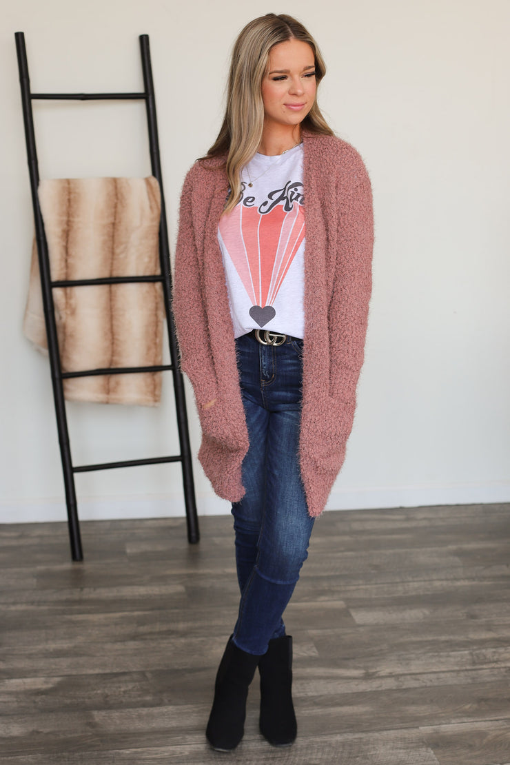 Only In Dreams Cardigan: Mauve - ShopSpoiled