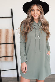 Unwind Sweater Dress: Olive - ShopSpoiled