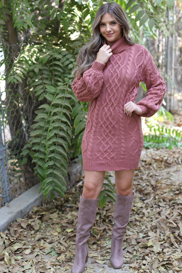 Lucky Break Sweater Dress: Mauve - ShopSpoiled