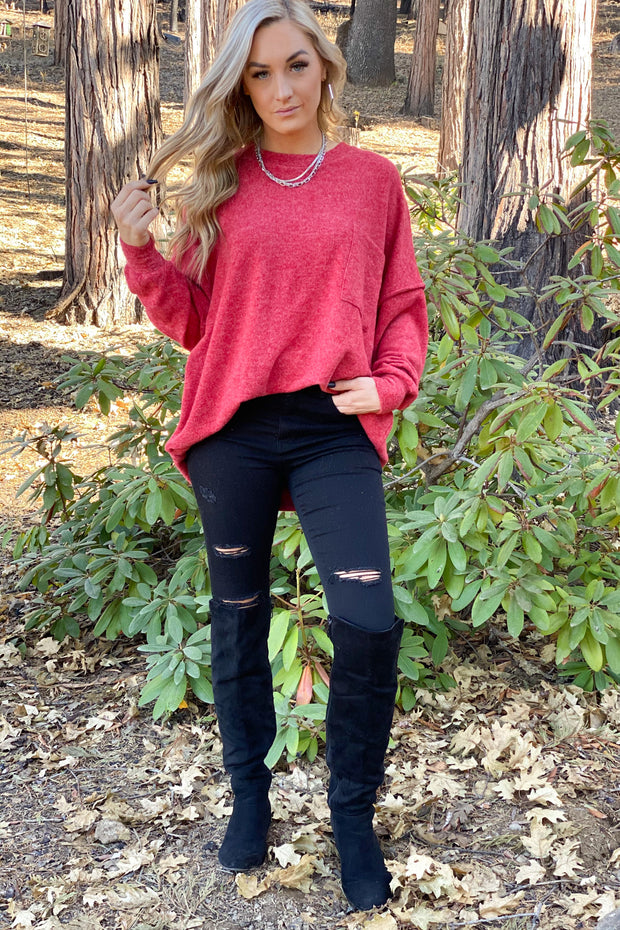 Hometown Bound Sweater: Red - ShopSpoiled