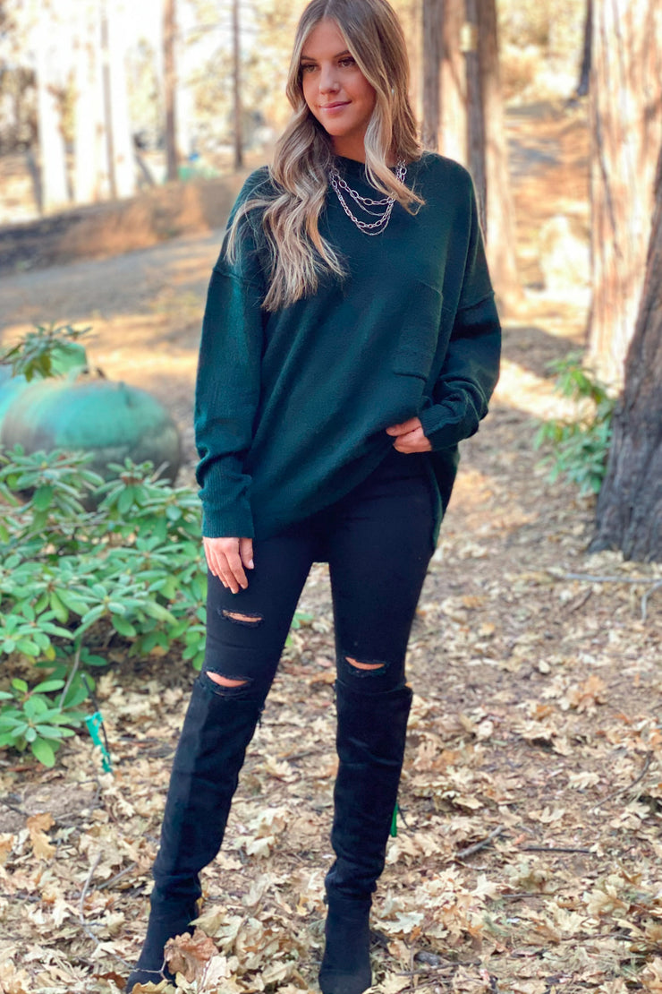 Better Times Sweater: Hunter Green - ShopSpoiled