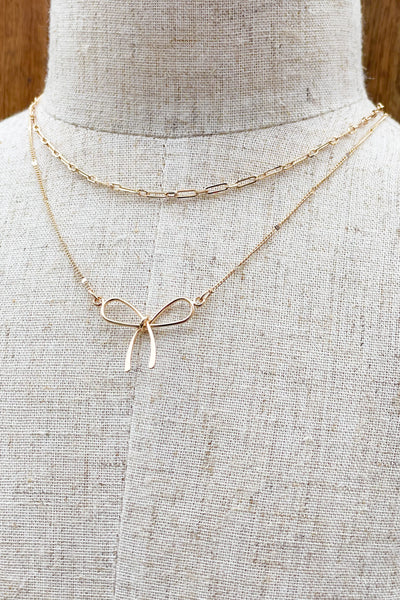 Bow Tie Layered Necklace - ShopSpoiled