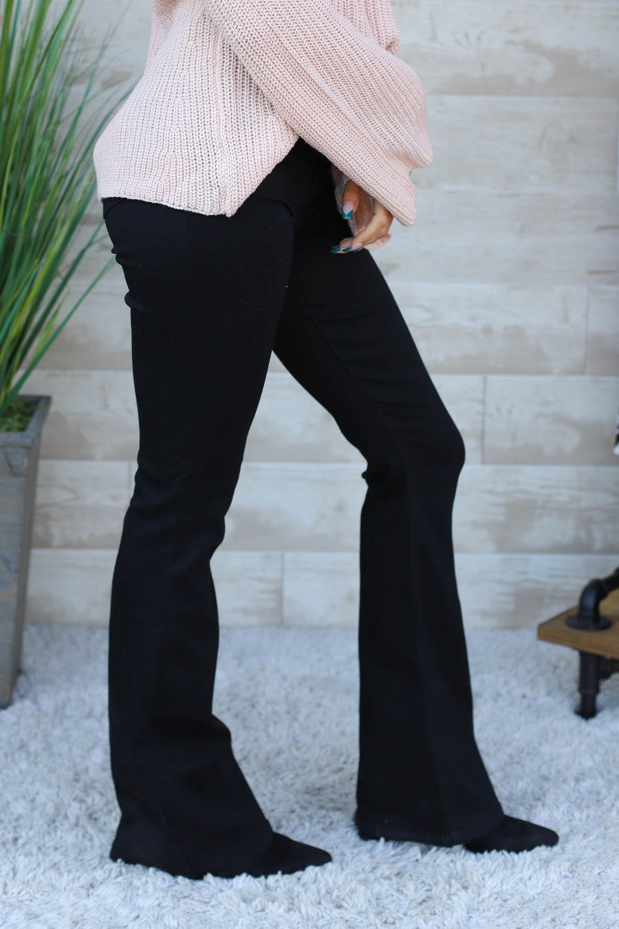 Miranda Black High Rise Flare Jeans - ShopSpoiled