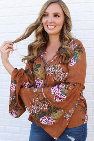 Go With The Flow Top: Camel - ShopSpoiled