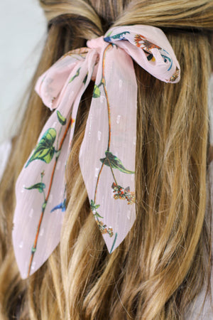 Sheer Floral Hair Scarf: Soft Pink - ShopSpoiled