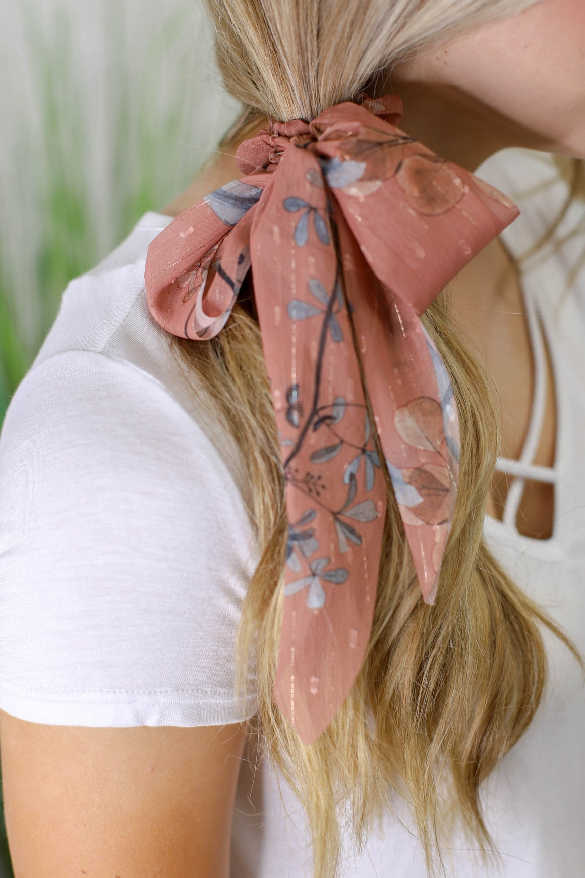 Sheer Floral Hair Scarf: Mauve - ShopSpoiled