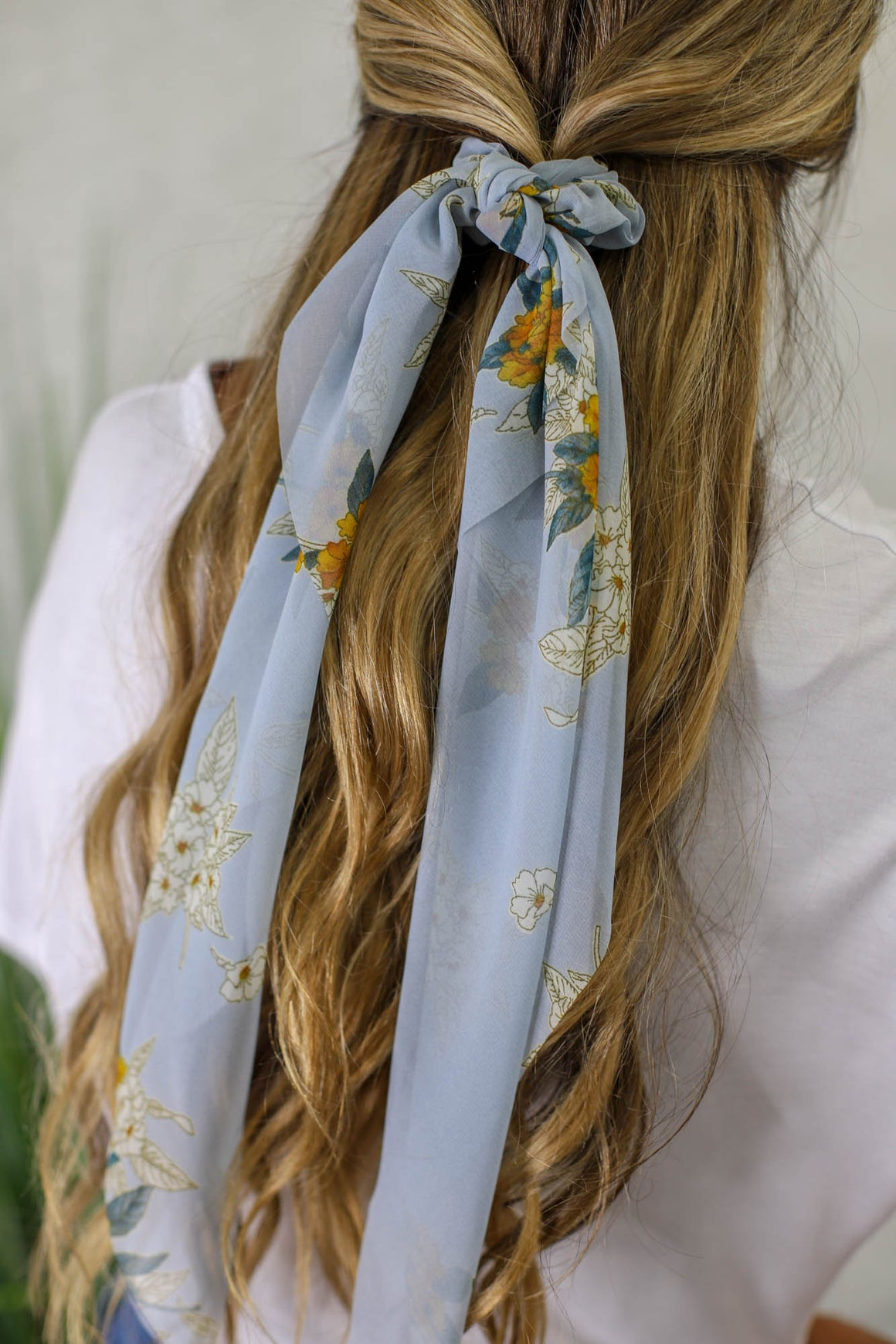 Sheer Floral Hair Scarf: Baby Blue - ShopSpoiled