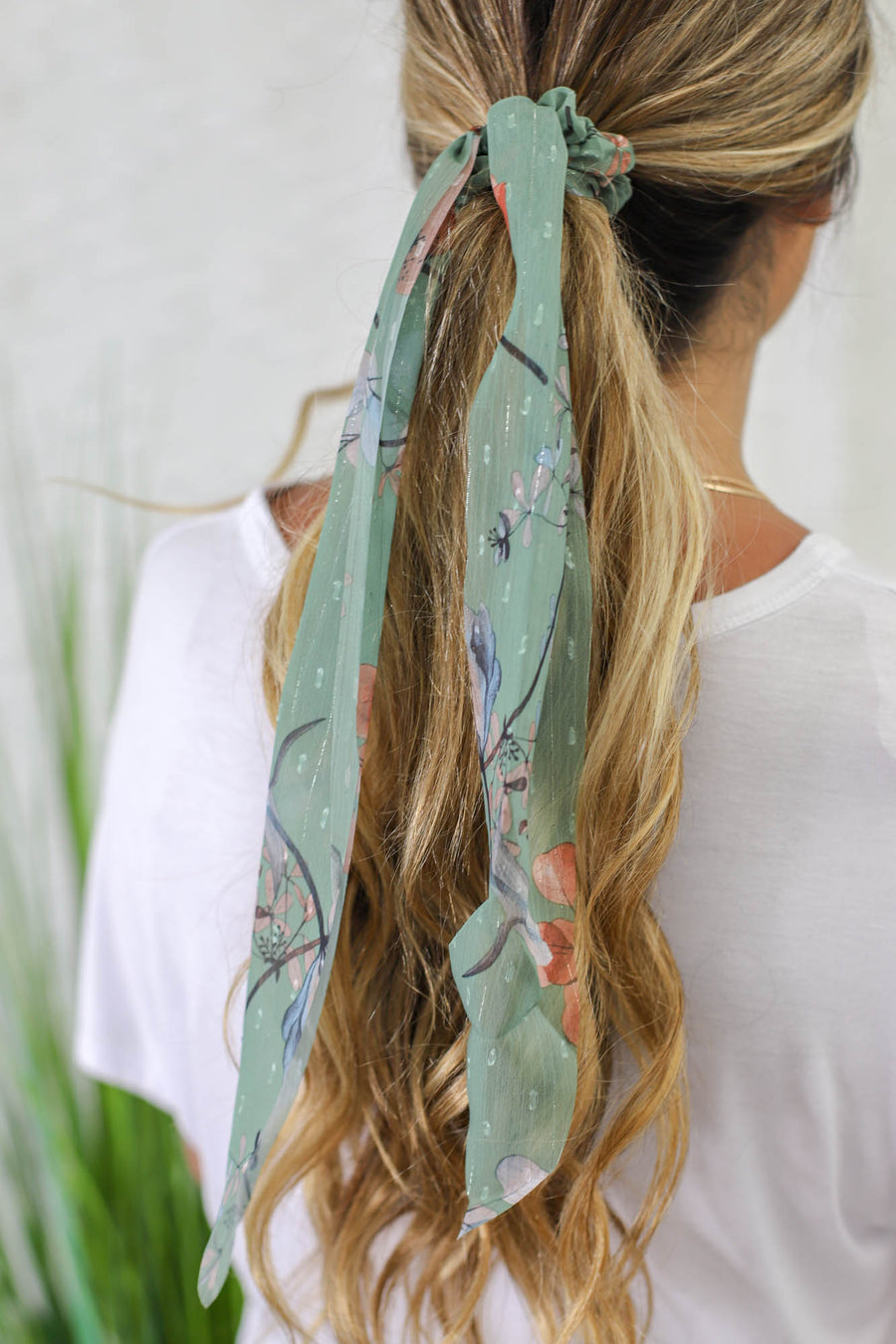 Sheer Floral Hair Scarf: Sage - ShopSpoiled